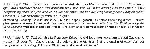 Stammbaum von Abraham bis Jesus; es fehlt Jojakim, dem ein Eselsbegräbnis zuteil wurde. (Jerimia 22, 18-19)